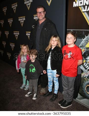LOS ANGELES - JAN 16:  Dean McDermott, Hattie McDermott, Finn McDermott, Stella McDermott, Liam McDermott at the Monster Jam Celebrity Night at the Angels Stadium on January 16, 2016 in Anaheim, CA - stock photo