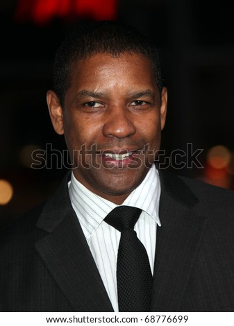 LOS ANGELES - JAN 11:  Denzel Washington arrives to the 'The Book of Eli' Los Angeles Premiere  on January 11,2009 in Hollywood, CA - stock photo