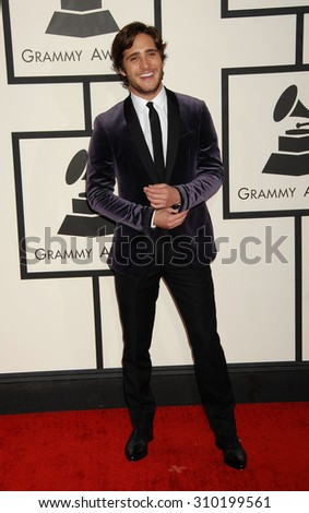 LOS ANGELES - JAN 26:  Diego Boneta arrives at the 56th Annual Grammy Awards Arrivals  on January 26, 2014 in Los Angeles, CA                 - stock photo