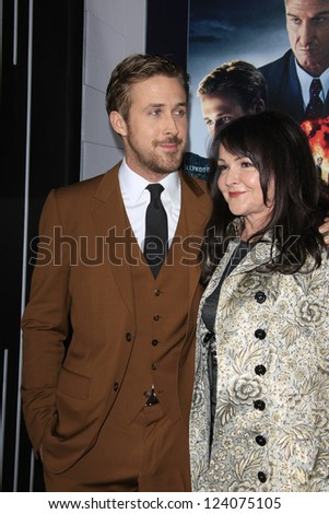 LOS ANGELES - JAN 7: Donna Gosling, Ryan Gosling at Warner Bros. Pictures' 'Gangster Squad' premiere at Grauman's Chinese Theater on January 7, 2013 in Los Angeles, California - stock photo