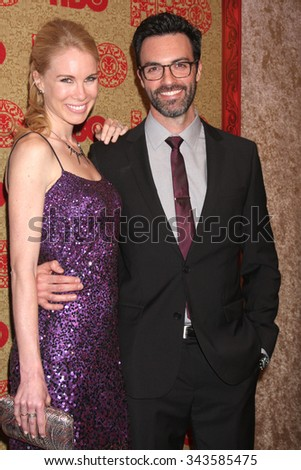 LOS ANGELES - JAN 12:  Elspeth Keller, Reid Scott at the HBO 2014 Golden Globe Party at the Beverly Hilton Hotel on January 12, 2014 in Beverly Hills, CA - stock photo