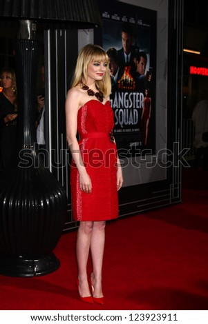 LOS ANGELES - JAN 7:  Emma Stone arrives at the 'Gangster Squad' Premiere at Graumans Chinese Theater on January 7, 2013 in Los Angeles, CA - stock photo