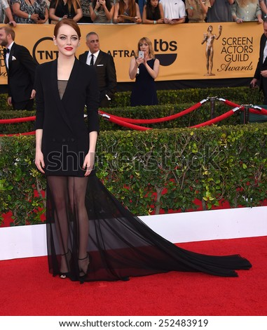 LOS ANGELES - JAN 25:  Emma Stone arrives to the 21st Annual Screen Actors Guild Awards  on January 25, 2015 in Los Angeles, CA                 - stock photo