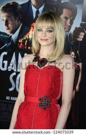 LOS ANGELES - JAN 7: Emma Stone at Warner Bros. Pictures' 'Gangster Squad' premiere at Grauman's Chinese Theater on January 7, 2013 in Los Angeles, California - stock photo