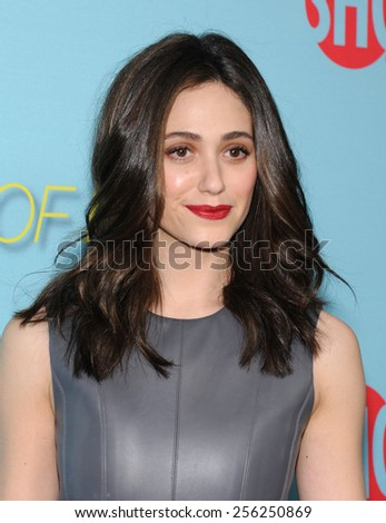 LOS ANGELES - JAN 05:  Emmy Rossum arrives to the Showtime celebrates all-new seasons of Shameless, House of Lies and Episodes  on January 5, 2015 in West Hollywood, CA                 - stock photo
