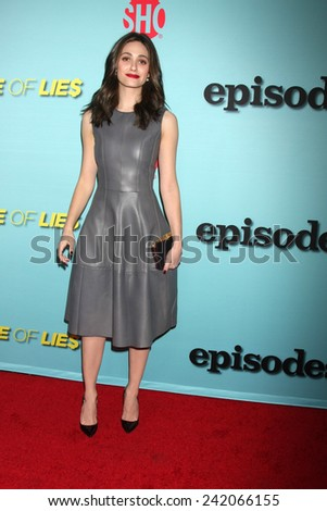 "LOS ANGELES - JAN 5:  Emmy Rossum at the Showtime Celebrates All-New Seasons Of ""Shameless,"" ""House Of Lies"" And ""Episodes"" at a Cecconi's on January 5, 2014 in West Hollywood, CA - stock photo"