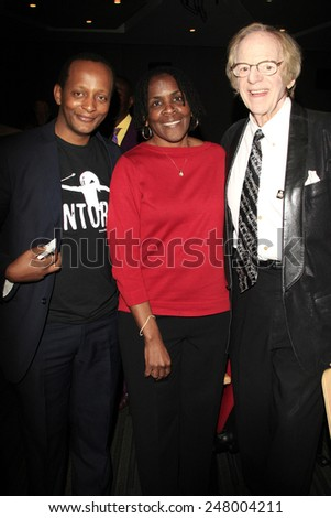 LOS ANGELES - JAN 28: Eric Kabera, Marcia Thomas, Ken Kragen at the 30th Anniversary of 'We Are The World' at The GRAMMY Museum on January 28, 2015 in Los Angeles, California - stock photo