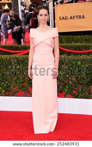 LOS ANGELES - JAN 25:  Felicity Jones arrives to the 21st Annual Screen Actors Guild Awards  on January 25, 2015 in Los Angeles, CA                 - stock photo
