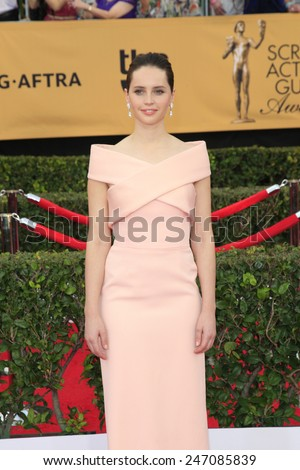 LOS ANGELES - JAN 25:  Felicity Jones at the 2015 Screen Actor Guild Awards at the Shrine Auditorium on January 25, 2015 in Los Angeles, CA - stock photo