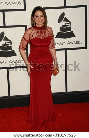 LOS ANGELES - JAN 26:  Gloria Estefan arrives at the 56th Annual Grammy Awards Arrivals  on January 26, 2014 in Los Angeles, CA                 - stock photo