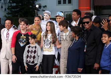 LOS ANGELES - JAN 26:  Guests, Family, Prince, Blanket, Paris Jackson at the Michael Jackson Immortalized  Handprint and Footprint Ceremony at Graumans Chinese Theater on January 26, 2012 in Los Angel - stock photo