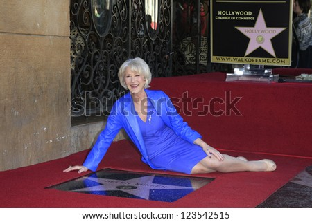 LOS ANGELES - JAN 3: Helen Mirren at a ceremony as Helen Mirren is honored with star on the Hollywood Walk of Fame on January 3, 2013 in Los Angeles, California