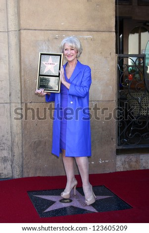 LOS ANGELES - JAN 3:  Helen Mirren at her Hollywood Walk of Fame Star Ceremony at Pig 'n Whistle on January 3, 2013 in Los Angeles, CA - stock photo