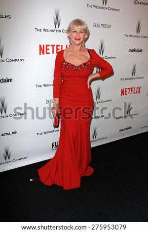 LOS ANGELES - JAN 11:  Helen Mirren at the The Weinstein Company / Netflix Golden Globes After Party at a Beverly Hilton Adjacent on January 11, 2015 in Beverly Hills, CA - stock photo