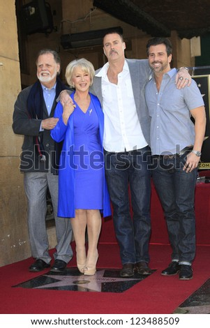 LOS ANGELES - JAN 3: Helen Mirren, Taylor Hackford, family at a ceremony as Helen Mirren is honored with star on the Hollywood Walk of Fame on January 3, 2013 in Los Angeles, California - stock photo
