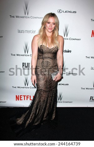 LOS ANGELES - JAN 11:  Hilary Duff at the The Weinstein Company / Netflix Golden Globes After Party at a Beverly Hilton Adjacent on January 11, 2015 in Beverly Hills, CA - stock photo
