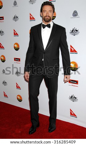 LOS ANGELES - JAN 12 - Hugh Jackman arrives at the 2013 GDay USA Los Angeles Black Tie Gala  on January 12, 2013 in Los Angeles, CA              - stock photo