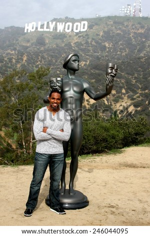 LOS ANGELES - JAN 20:  Jason George, Screen Actor's Guild Actor, Hollywood Sign at the AG Awards Actor Visits The Hollywood Sign at a Hollywood Hills on January 20, 2015 in Los Angeles, CA - stock photo
