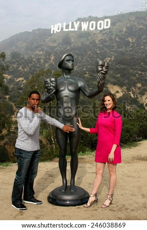 LOS ANGELES - JAN 20:  Jason George, Screen Actor's Guild Actor, Julie Lake at the AG Awards Actor Visits The Hollywood Sign at a Hollywood Hills on January 20, 2015 in Los Angeles, CA - stock photo