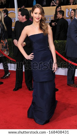 LOS ANGELES - JAN 27:  Jennifer Lawrence arrives to the SAG Awards 2013  on January 27, 2013 in Los Angeles, CA                 - stock photo