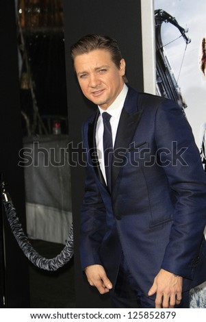 LOS ANGELES - JAN 23: Jeremy Renner at the LA premiere of Paramount Pictures' 'Hansel And Gretel: Witch Hunters' at Grauman's Chinese Theater on January 24, 2013 in Los Angeles, California - stock photo