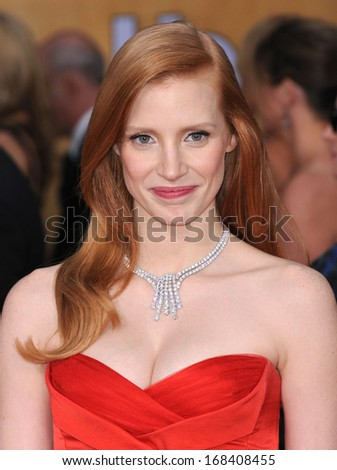 LOS ANGELES - JAN 27:  Jessica Chastain arrives to the SAG Awards 2013  on January 27, 2013 in Los Angeles, CA                 - stock photo