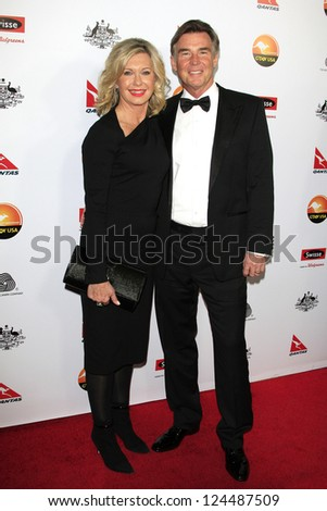 LOS ANGELES - JAN 12: John Easterling, Olivia Newton-John at the 2013 G'Day USA Los Angeles Black Tie Gala at JW Marriott on January 12, 2013 in Los Angeles, California - stock photo