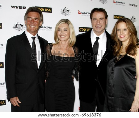 LOS ANGELES - JAN 22:  John Easterling, Olivia Newton John, John Travolta and Kelly Preston arrive at the 2011 G'Day USA Black Tie Gala at Hollywood Palladium on January 22, 2011 in Los Angeles, CA - stock photo
