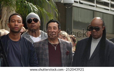 LOS ANGELES - JAN 28:  John Legend, LL Cool J, Smokey Robinson, Stevie Wonder at the Ken Ehrlich Hollywood WOF Star Ceremony at a Capital Records Building on January 28, 2015 in Los Angeles, CA - stock photo