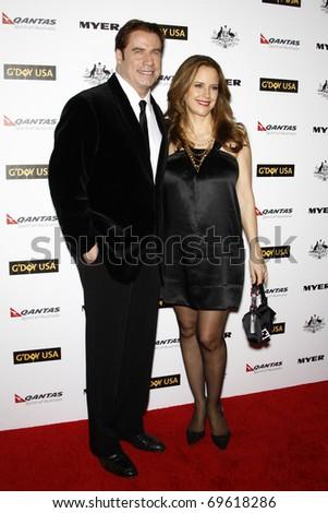 LOS ANGELES - JAN 22:  John Travolta and Kelly Preston arrives at the 2011 G'Day USA Australia Week LA Black Tie Gala at Hollywood Palladium on January 22, 2011 in Los Angeles, CA - stock photo