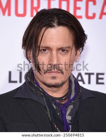 "LOS ANGELES - JAN 21:  Johnny Depp arrives to the ""Mortdecai"" Los Angeles Premiere  on January 21, 2015 in Hollywood, CA                 - stock photo"