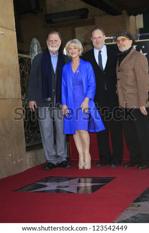 LOS ANGELES - JAN 3: Jon Turtletaub, David Mamet, Helen Mirren, Taylor Hackford at a ceremony as Helen Mirren is honored with star on the Hollywood Walk of Fame on January 3, 2013 in Los Angeles, CA - stock photo