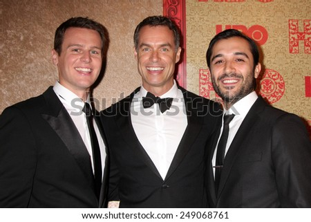 LOS ANGELES - JAN 12:  Jonathan Groff, Murray Bartlett, Frankie J. Alvarez at the HBO 2014 Golden Globe Party  at Beverly Hilton Hotel on January 12, 2014 in Beverly Hills, CA - stock photo