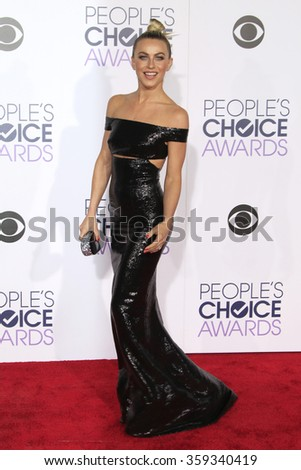 LOS ANGELES - JAN 6:  Julianne Hough at the Peoples Choice Awards 2016 - Arrivals at the Microsoft Theatre L.A. Live on January 6, 2016 in Los Angeles, CA - stock photo