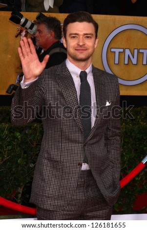 LOS ANGELES - JAN 27:  Justin Timberlake arrives at the 2013 Screen Actor's Guild Awards at the Shrine Auditorium on January 27, 2013 in Los Angeles, CA - stock photo