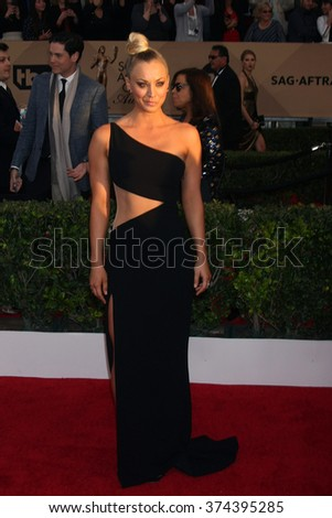 LOS ANGELES - JAN 30:  Kaley Cuoco at the 22nd Screen Actors Guild Awards at the Shrine Auditorium on January 30, 2016 in Los Angeles, CA - stock photo