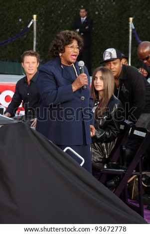 LOS ANGELES - JAN 26:  Katherine Jackson speaks at the Michael Jackson Immortalized  Handprint and Footprint Ceremony at Graumans Chinese Theater on January 26, 2012 in Los Angeles, CA - stock photo