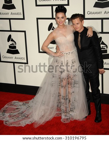 LOS ANGELES - JAN 26:  Katy Perry and brother David Hudson arrives at the 56th Annual Grammy Awards Arrivals  on January 26, 2014 in Los Angeles, CA                 - stock photo