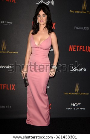 LOS ANGELES - JAN 10:  Katy Perry at the Weinstein Company & Netflix 2016 Golden Globe After Party at the Beverly Hilton on January 10, 2016 in Beverly Hills, CA - stock photo