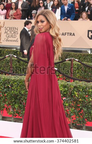 LOS ANGELES - JAN 30:  Laverne Cox at the 22nd Screen Actors Guild Awards at the Shrine Auditorium on January 30, 2016 in Los Angeles, CA - stock photo