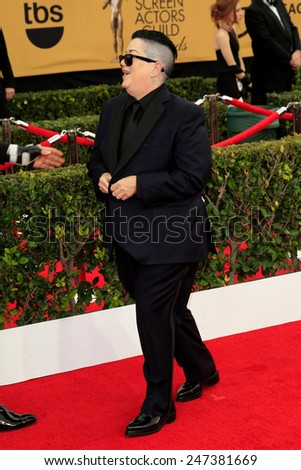 LOS ANGELES - JAN 25:  Lea DeLaria at the 2015 Screen Actor Guild Awards at the Shrine Auditorium on January 25, 2015 in Los Angeles, CA - stock photo