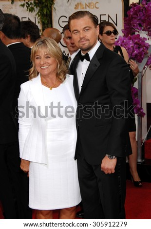 LOS ANGELES - JAN 12:  Leonardo DiCaprio and mother Irmelin arrives to the 2014 Golden Globe Awards  on January 12, 2014 in Beverly Hills, CA                 - stock photo