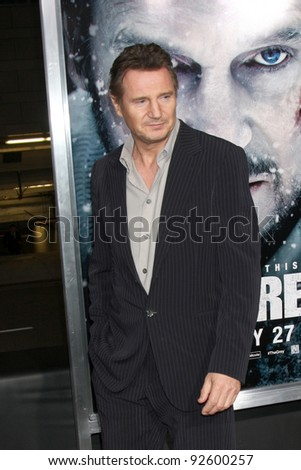 "LOS ANGELES - JAN 11: Liam Neeson arrives at ""The Grey"" Premiere at Regal Theater at LA Live on January 11, 2012 in Los Angeles, CA"