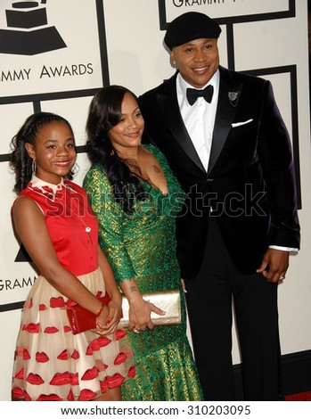 LOS ANGELES - JAN 26:  LL Cool J and Simone Johnson, daughter arrives at the 56th Annual Grammy Awards Arrivals  on January 26, 2014 in Los Angeles, CA                 - stock photo