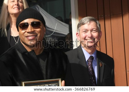LOS ANGELES - JAN 21:  LL Cool J, Leron Gubler at the LL Cool J Hollywood Walk of Fame Ceremony at the Hollywood and Highland on January 21, 2016 in Los Angeles, CA - stock photo