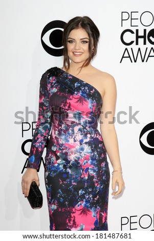 LOS ANGELES - JAN 8: Lucy Hale at The People's Choice Awards at the Nokia Theater L.A. Live on January 8, 2014 in Los Angeles, California - stock photo
