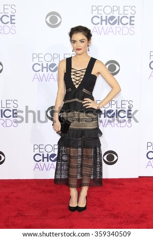 LOS ANGELES - JAN 6:  Lucy Hale at the Peoples Choice Awards 2016 - Arrivals at the Microsoft Theatre L.A. Live on January 6, 2016 in Los Angeles, CA - stock photo