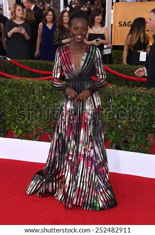 LOS ANGELES - JAN 25:  Lupita Nyong'o arrives to the 21st Annual Screen Actors Guild Awards  on January 25, 2015 in Los Angeles, CA                 - stock photo