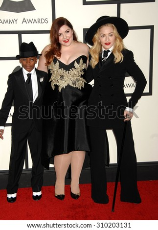 LOS ANGELES - JAN 26:  Madonna, son David and Mary Lambert arrives at the 56th Annual Grammy Awards Arrivals  on January 26, 2014 in Los Angeles, CA                 - stock photo