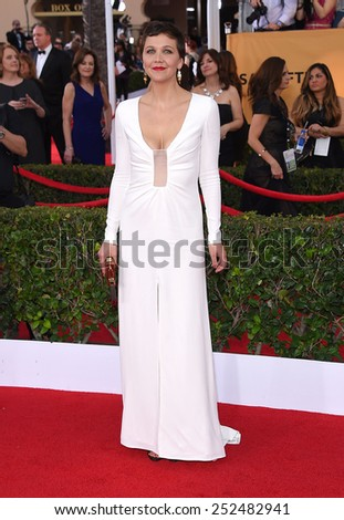 LOS ANGELES - JAN 25:  Maggie Gyllenhaal arrives to the 21st Annual Screen Actors Guild Awards  on January 25, 2015 in Los Angeles, CA                 - stock photo